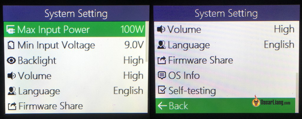iSDT-SC-620-500W-Smart-Charger-system-setting-info-screen