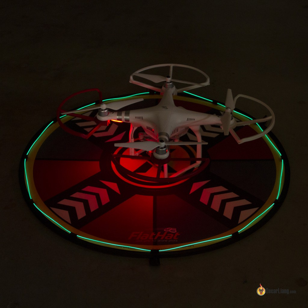 Flathat-Collapsible-Drone-LandingTake-off-Pad-lighting-kit-at-night
